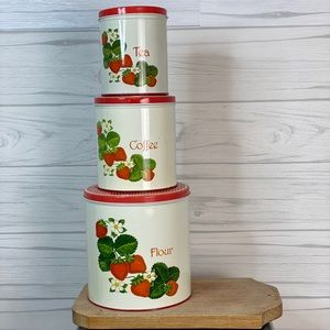 Vintage strawberry kitchen storage tins